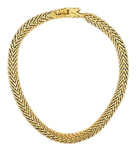 St. John St. John Gold Tone Hammered Link Chain Collar Choker Necklace