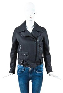 Acne Studios Matte Lamb Leather Zip Ls Belted Motorcycle Motorcycle Jacket