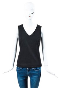 Prada Stretch V Neck Sl Top Black