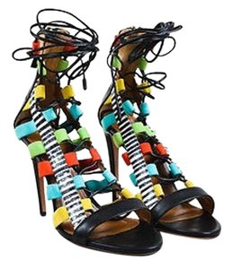 Aquazzura Black Leather Lace Up Amazon Open Toe Heels Multi-Color Sandals