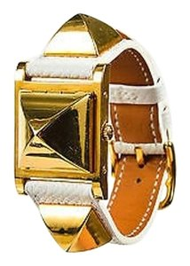 Herms Hermes White Gold Plated Epsom Leather Studded Medor Pm Watch