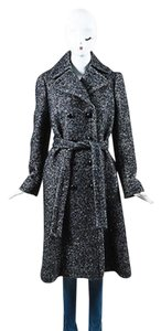 Givenchy Black White Wool Metallic Tweed Double Breasted Belted Coat