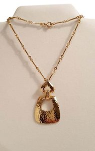 Retro Hammered Gold Tone Drop Pendant Necklace Retro Hammered Gold Tone Drop Pendant Necklace