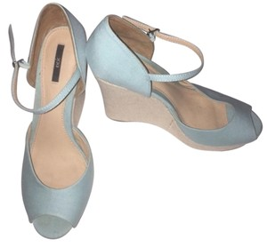 Forever 21 Blue Blue Wedge Light Blue/Beige Wedges