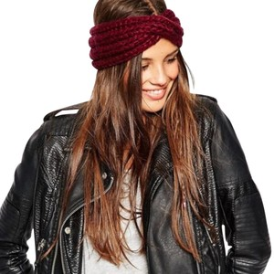 ASOS NEW Asos Chunky Knit Headband Burgundy Red Hat