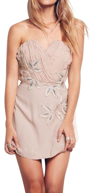 Item - Peach/Pink with Ivory Grey Embroidery Shadow Floral Mini Cocktail Dress Size 8 (M)