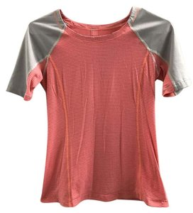 Lululemon EUC Lululemon Running Top/Tee - Peach/Pink, Gray, Size 4, Stripes