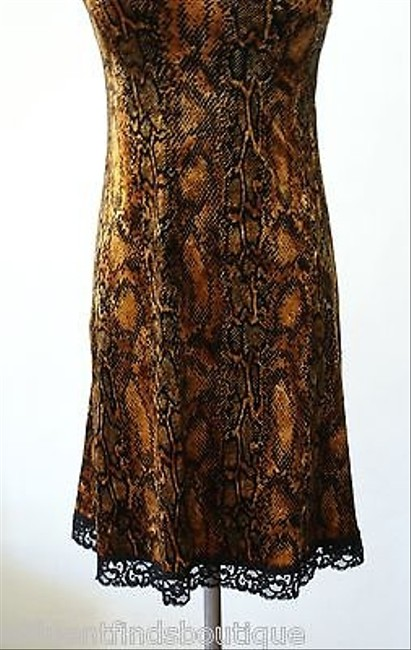 Betsey Johnson Goldblack Snake Print Velour Dress