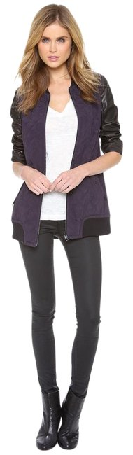 Item - Eggplant and Black Pacific Silk with Leather Sleeves Jacket Size 4 (S)