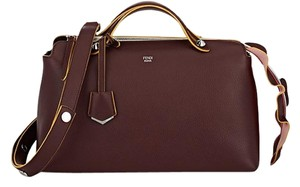 Fendi Leather Burgundy Satchel in Bordeaux