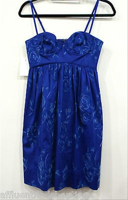 Rebecca Taylor short dress Blue Cobalt Floral Stitched 0 on Tradesy