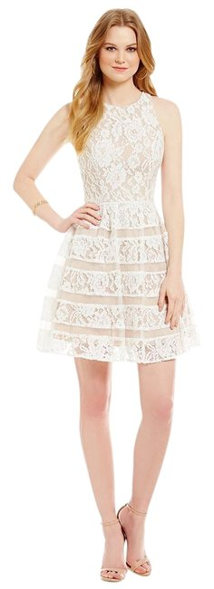 Item - Ivory Nude Lace Fit & Flare Above Knee Cocktail Dress Size 4 (S)