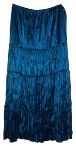 Ninety Sequin Velour Velvet Holiday Party Maxi Skirt Teal