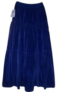 Metro Style Faux Suede Long Casual Boot Length Suede Maxi Skirt Royal blue