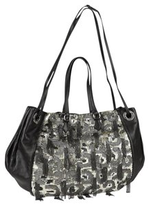 Valentino Sequins Chains Leather Hobo Shoulder Bag