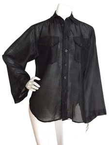 Ralph Lauren Black Label Silk Button Down Shirt Black
