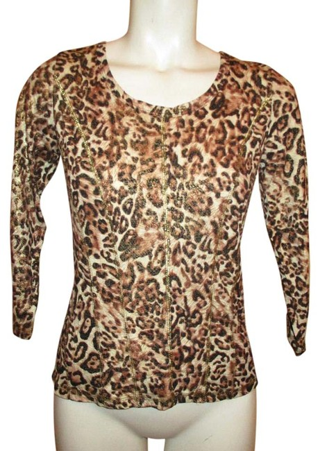 Item - Knit Black Brown Tan & Gold Animal Print Top
