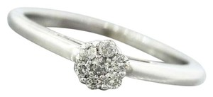 Other Ladies Modern Estate 14K White Gold Cluster Diamond Engagement Ring
