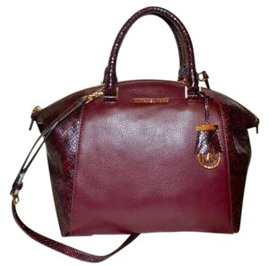 Michael Kors Satchel in Merlot Snakeskin w Gold Hardware