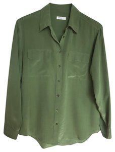 Equipment 100% Silk Silk Button Down Shirt Green