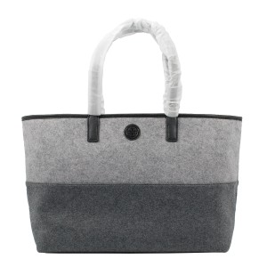 Tory Burch Ashley Shopper Tote in Graphite Gray/Light Gray