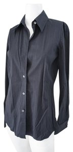 Theory French Cuff Blouse Button Down Shirt Black