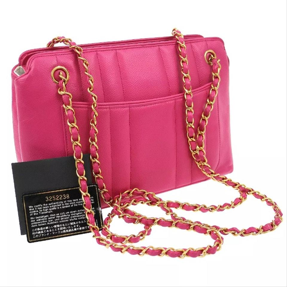 7ae709ae8cdd Chanel Quilted Chain Caviar Skin Hot Pink Leather Shoulder Bag - Tradesy