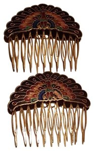Peacock Hair Comb Vintage Enamel Multicolor Gold Plated