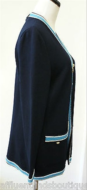 St. John John Collection Navy Zip Front Or Sweater