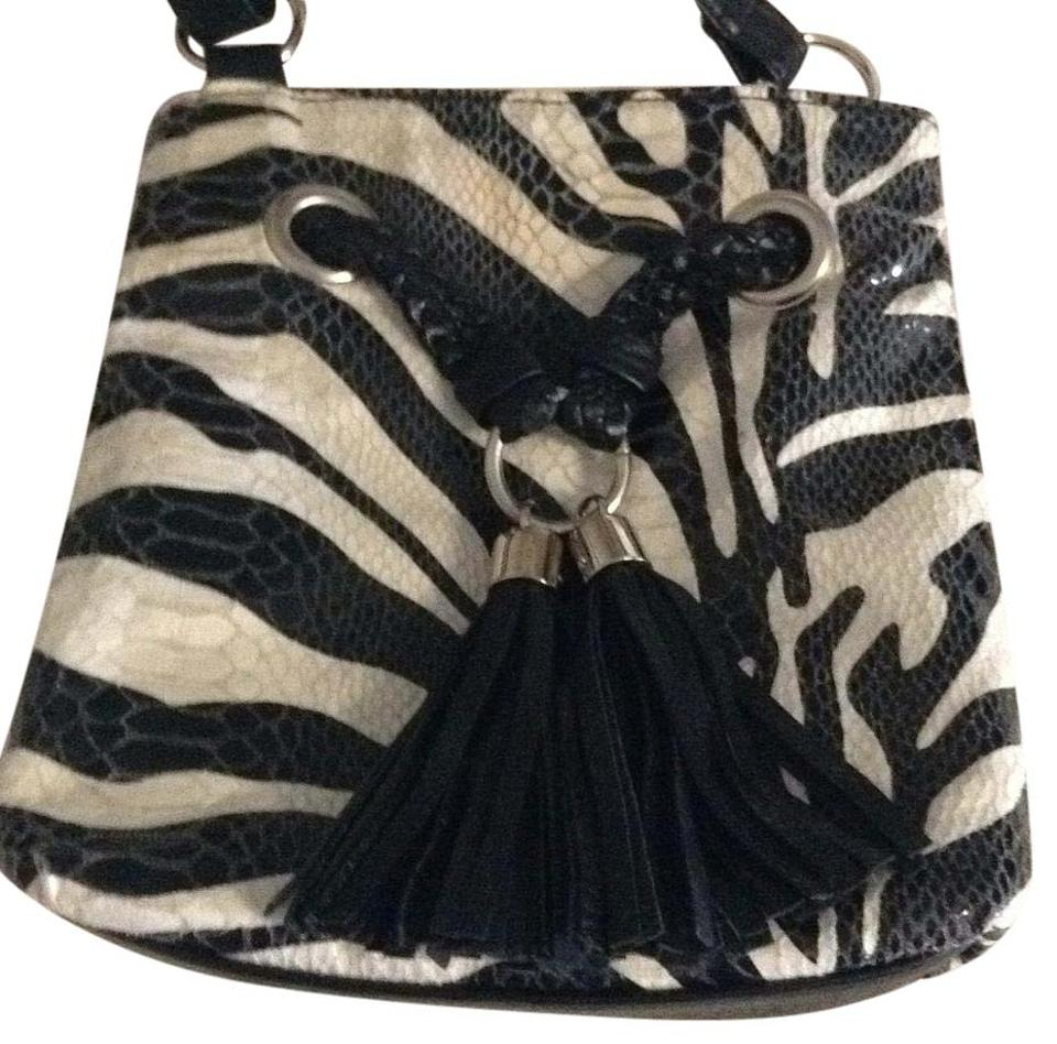Bueno Collection Black And White Patent Leather Cross Body Bag