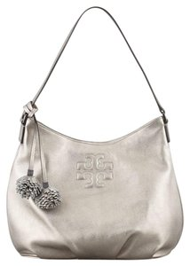 Tory Burch Tassels Pom Pom Leather Hobo Bag