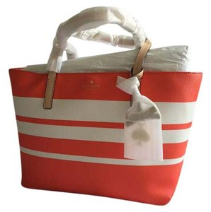 Kate Spade Tote in Coral and White Striped
