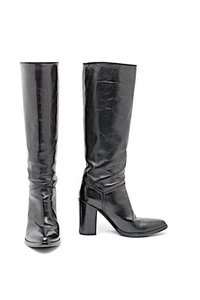 Sartore Paris Knee High Pull On Black Boots