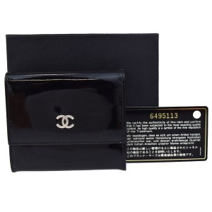 Chanel CC Logos Wallet Purse Patent Leather Black France Clutch Trifold