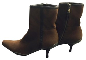Prada Short Square Toe Brown Suede Boots