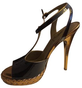 Saint Laurent Ysl Tribute Chocolate & gold Sandals