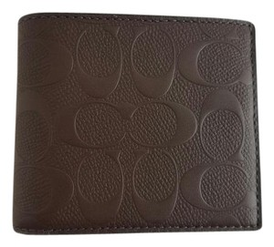 Coach New Coach Compact ID Signature Embossed Crossgrain Wallet Brown