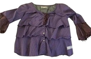 Odd Molly Button Down Shirt Purple and Maroon