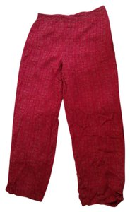 Coldwater Creek Printed Patterned Size Large Wide Leg Pants Red