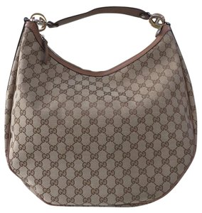 Gucci Gg Leather Canvas Hobo Bag