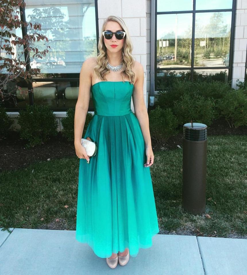 Monique Lhuillier Emerald Green Ombre Ml Mid-length Formal Dress ...
