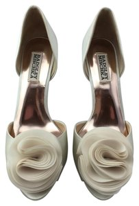 Badgley Mischka Wedding Satin Rose Peep Toe Ivory Pumps