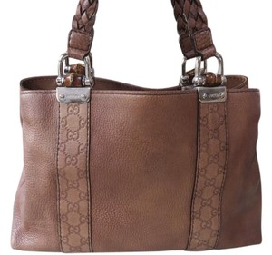 Gucci Bamboo Braded Weaved Tote in Brown