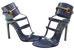 Gucci Strappy Blue Gold Uniform Blue Sandals