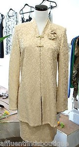 St. John St. John Evening Pale Gold Metallic Skirt Suit