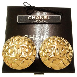 Chanel Chanel Quilted CC Logo Earrings