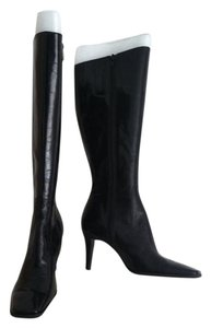 Nine West Knee High Patent Leather Square Toe Black Boots
