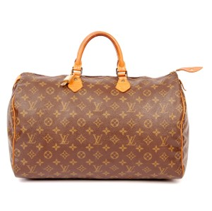 Louis Vuitton Monogram Canvas Leather Speedy Brown Travel Bag