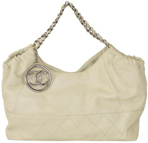 Chanel Shoulder Ivory Tote in White