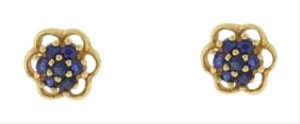 Other Antique Sapphire flower Stud Earrings- 14k Yellow Gold